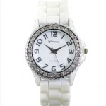 Women's Rhinestone-accented White Large Face Silicone Watch