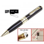 DB Tech Video Pen Camera – Gold-accented Executive Pen w/Micro SD Slot Expandable to 8gb, Captures High Res Photos and Video. Includes 2gb Card + Card Reader