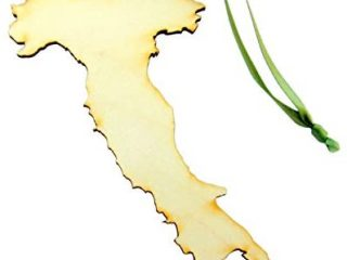 Italy Ornament Wooden Country Shaped Italian Christmas Tree Decoration Handmade in The U.S.A.