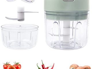 Pruk Mini Food Chopper, Electric Garlic Mincer with USB Charge, Cordless Portable Kitchen Gadget for Processing Puree, Garlic, Ginger, Onion and Chili, 2 Blades with 2 Cups of 250ML and 100ML