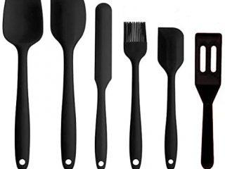 Silicone Spatulas Set,Heat Resistant Rubber Spatula Kitchen Utensils & Gadgets Cooking Utensils Tool, Baking and Mixing - Ergonomic, Dishwasher Safe Bakeware Set of 6, Black